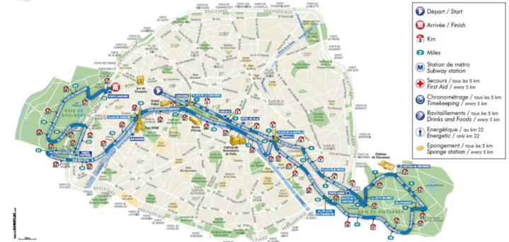 Le parcours du 37e Marathon International de Paris (c) Mairie de Paris.
