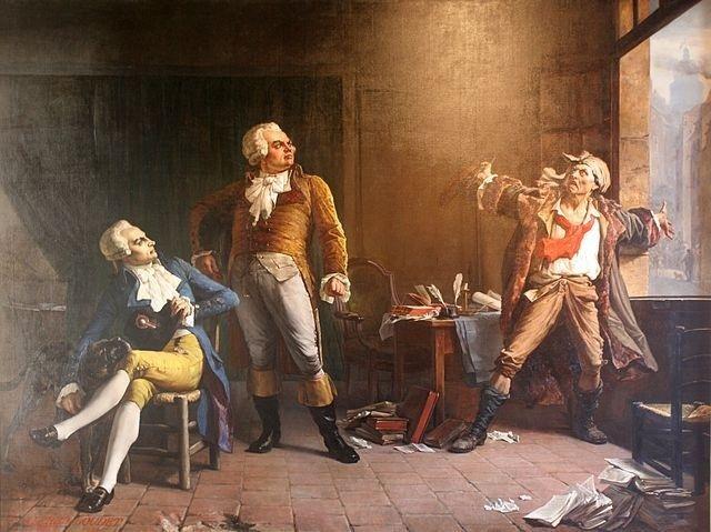 De gauche à droite : Robespierre, avec son chien danois Brount qu'il avait ramené de son voyage en Artois en 1791, Danton, et Marat : une peinture d'Alfred Loudet (1882) - Photo : David Monniaux sous licence Creative Commons