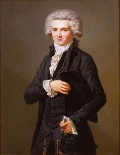 Maximilien Robespierre député, huile sur toile 75 × 58 cm de Pierre Roch Vigneron (français, 1789-1872) anciennement considéré comme une copie d'après le dessin au pastel par Adélaide Labille-Guiard, actuellement au Château de Versailles - Source : http://www.ladyreading.net/labille-guiard/gallery.html sous licence Creative Commons.