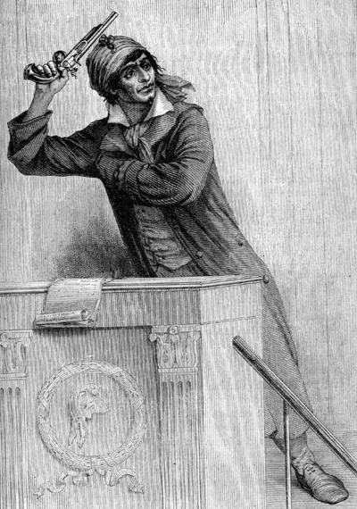 """Le 25 septembre 1792 déjà, Marat joue gros. Acculé, il se défend avec ardeur. Marat, Robespierre et Danton et d'autres sont accusés de représenter un danger pour la liberté et de dévoyer la Révolution. Jean-Paul Marat sent le vent tourner. Il utilise l'émotion pour sa défense pour éviter le décret d'accusation par la menace de son suicide à la tribune, pistolet à la main, le canon sur le front.   Et le député Tallien en profite pour clore ce débat et préserver ses amis montagnards. L'ordre du jour se poursuit et la Convention aborde la proposition de Couthon : """"Je demande que la Convention décrète l'unité de la République"""" - Photo : Jean-Pierre Marat reproduit par Viollat en estampe dans Les musées chez soi (XIXe siècle)"""