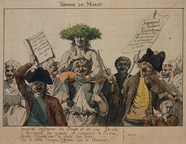 """Le triomphe de Marat, acquitté par le tribunal révolutionnaire, porte une couronne de feuilles de chêne. Gravure sur aquarelle : à gauche sur la pancarte : """"Chanson nouvelle Il n'y a qu'une âme noire qui y contredit Vive Marat Vive Marat"""" - A droite sur la pancarte : """"Jugement du tribunal révolutionnaire qui déclare Paul Marat innocent et ordonne qu'il soit mis sur le champ en liberté"""" - En bas : """"Immortel défenseur du Peuple et de ses droits, Il terrassa les Grands et renversa le Trône, Fonda l'Egalité sur la chute des Rois, De la Vertu Civique offrons-lui la Couronne"""". Auteur anonyme, 1793 - Source : Bibliothèque du Congrès des Etats-Unis d'Amérique, ID numérique n° cph.3g12943, sous licence creative commons."""