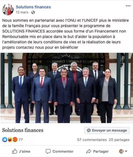 Fausse page sur Facebook avec une photo du gouvernement de la Polynésie française - communiqué de presse du 4 mai 2020.