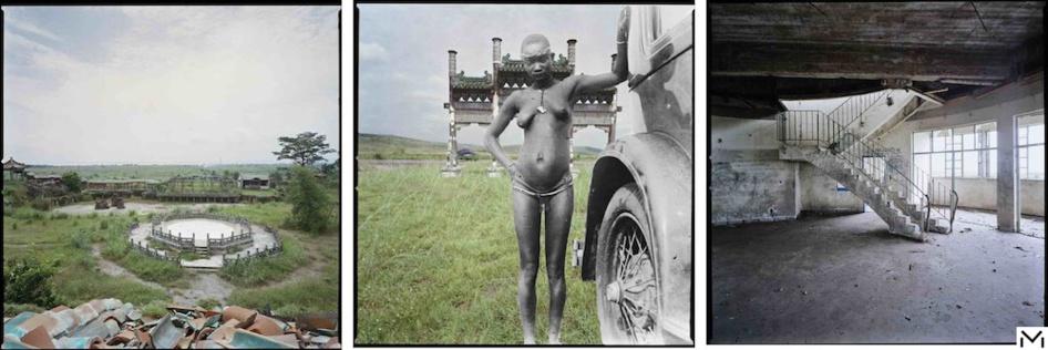 Sammy Baloji, Lumumbashi (Dem. Rep. of Congo) and Brussels, Triptych, Retour à l'authenticité, vestiges of Mobutu, digital print collage, 2013, Collection MACAAL/Foundation Alliance © Sammy Baloji