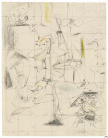 Arshile Gorky, Study for the Bethrotal, 1946-1947, graphite and wax crayon on paper, 61,5x48,6cm, Spencertown, Jack Shear © Elsworth Kelly Studio