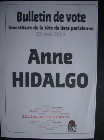 Les résultats du vote d'investiture d'Anne Hidalgo dans le XIIIe arrondissement