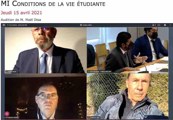 La mission d'information sénatoriale sur les conditions de la vie étudiante a auditionné Maël Disa, délégué interministériel pour l'égalité des chances des Français d'Outre-mer et la visibilité des Outre-mer le 15 avril 2021 - capture d'écran.