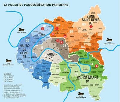 Carte avec les 8 ZSP de l'agglomération parisienne - Crédit photo : Préfecture de police de Paris.