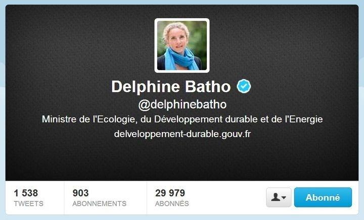 Compte Twitter de Delphine Batho (ministre de l'Ecologie du 21 juin 2012 au 2 juillet 2013) - Capture d'écran © Twitter 2013 le 3 juillet à 12h03.