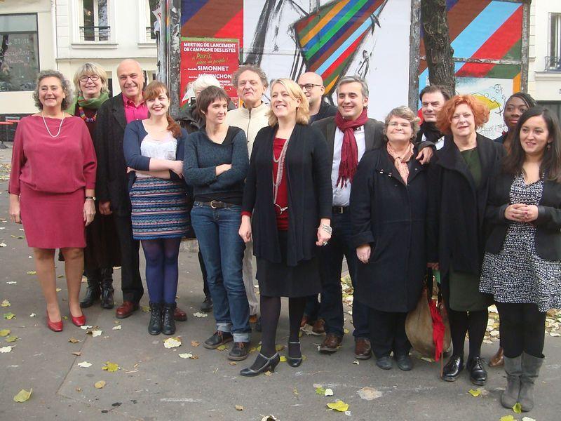 Danielle Simonnet et 14 têtes de liste aux municipales à Paris, soutenues par Jean-Luc Mélenchon - Photo : VD.