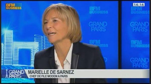 """Marielle de Sarnez sur BFM Business le 11 janvier 2014 : """"(dans le 6e arrondissement) je ne prendrai aucune fonction, c'est-à-dire aucune responsabilité de fonction, puisque mon mandat européen est ma première responsabilité législative"""" - Capture d'écran BFM Business."""