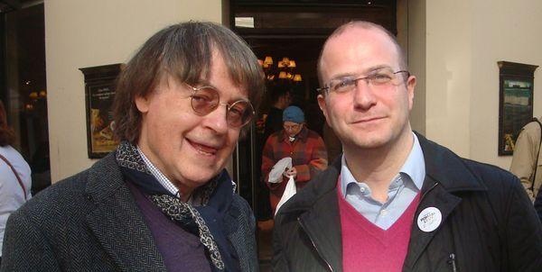 De gauche à droite : le dessinateur Cabu et le candidat socialiste Romain Levy - Photo : VD.