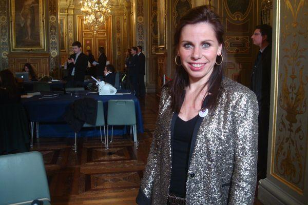 Géraldine Poirault-Gauvin à l'Hôtel de Ville le 23 mars 2014 à 21h45 - Photo : VD.