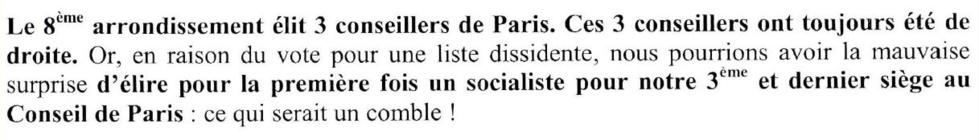 Extrait du tract de la liste UMP - Modem - UDI envoyé par courrier avant le 1er tour aux habitants du 8e avec une lettre du maire d'arrondissement François Lebel.