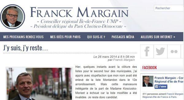 Franck Margain est bien resté n°4 sur la liste d'union UMP UDI Modem avec NKM dans le 12e - Capture d'écran.