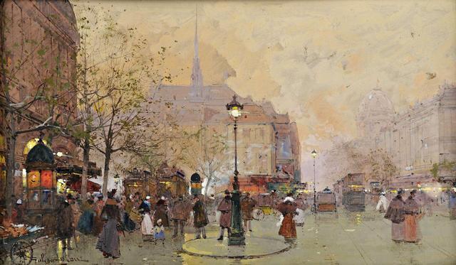 Galien Laloue Eugène (1854-1941) La Place Saint- Michel - Maître Etienne Laurent à Vichy.