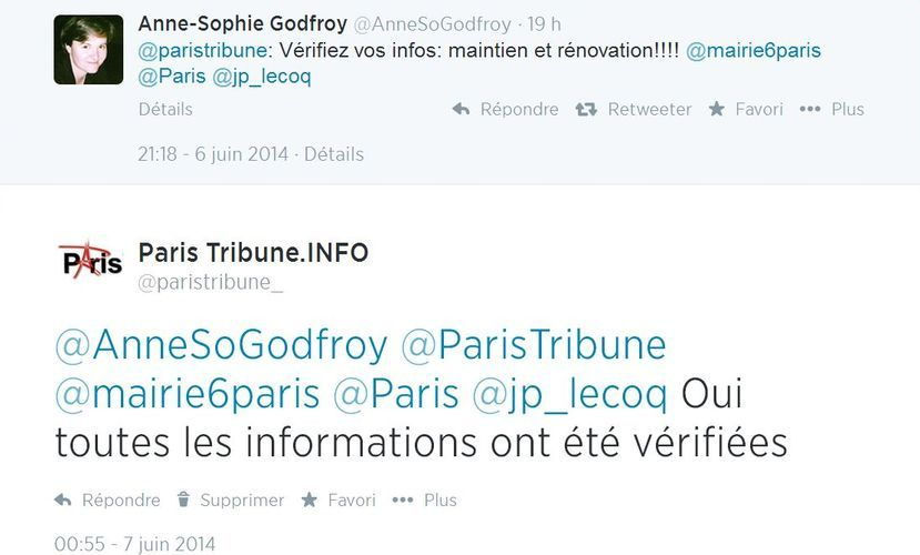 Anne-Sophie Godfroy-Genin publie une information erronée