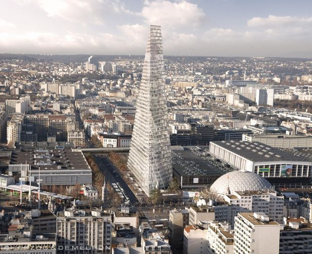Vue de Paris vers Issy - Tour triangle © Herzog de Meuron