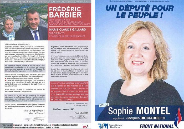 Page 1 du tract au premier tour - Législatives partielles, les  deux candidats présents au second tour.