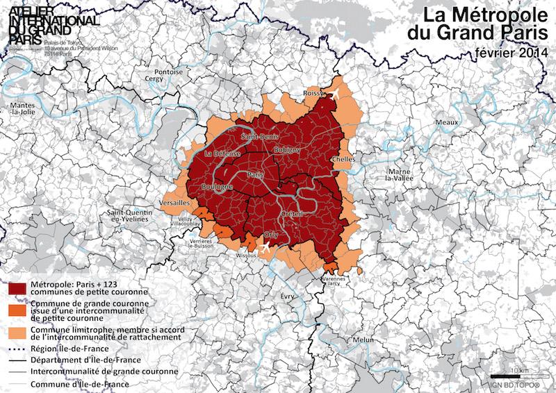 Carte de la métropole du Grand Paris en février 2014 : 123 communes. En octobre 2015 : 132 communes © Carte établie à partir de la loi de modernisation de l'action publique territoriale et d'affirmation des métropole (MAPAM) de Février 2014 par le Groupement d'intérêt public Atelier International du Grand Paris.