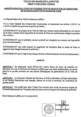 Arrêté municipal N°435/2015 du 19 octobre 2015 de la Ville de Maisons-Laffitte.