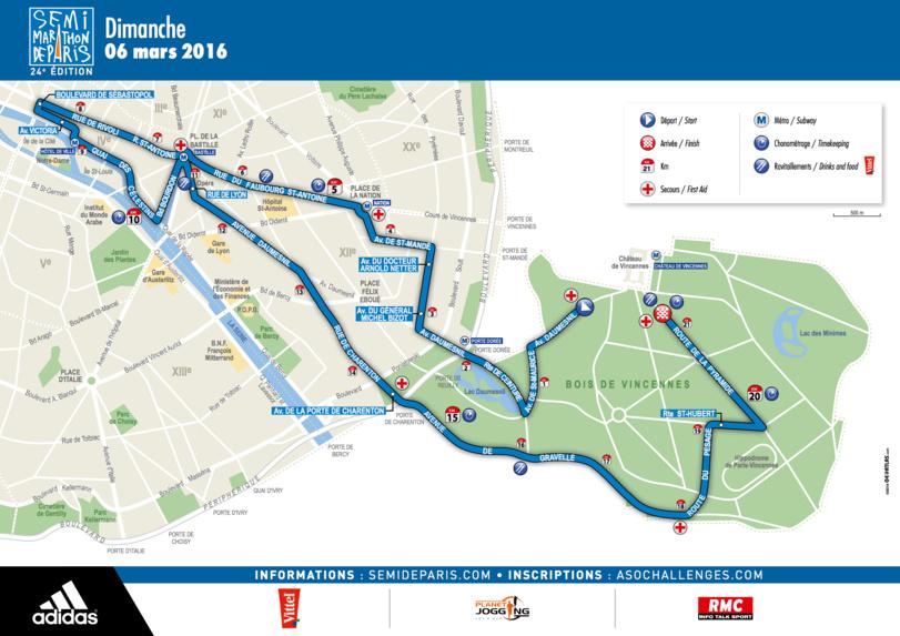 Le parcours du semi-marathon pour les Chrétiens d'Orient le 6 mars 2016 à Paris © Association SOS Chrétiens d'Orient.