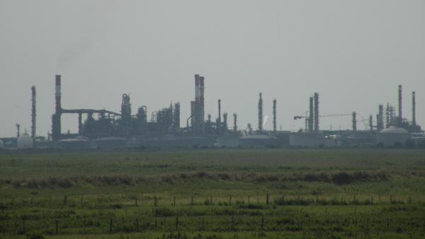 La raffinerie de Donges vue depuis les marais de Lavau-sur-Loire © Pymouss sous licence GFDL
