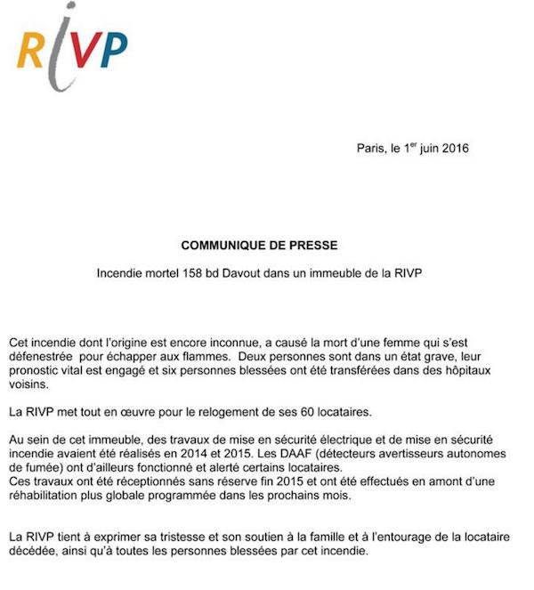 Communiqué de presse de la RIVP le 1er juin 2016 à 16h © RIVP