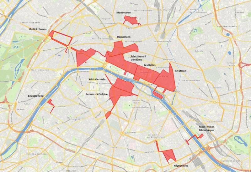 Les zones touristiques à Paris selon le ministère de l'Economie © Ministère de l'Economie