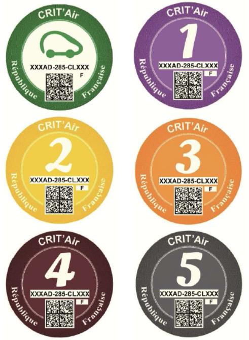 Les pastilles Crit'Air de 1 à 5 © developpement-durable.gouv.fr