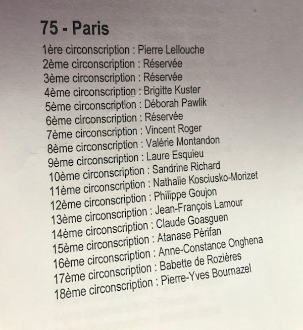 Législatives 2017 - La liste des investis le 14 janvier 2017 à Paris © Compte Twitter de Brigitte Kuster investie dans le 17e arrondissement où elle est maire (la 4e circonscription)
