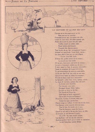 Illustration par Benjamin Rabier 1909 du conte de Jean de La Fontaine La Laitière et le Pot au Lait - par Als33120 sous licence creative common.