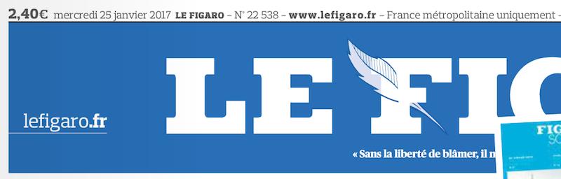 L'article visé par le Préfet ne se trouve ni en ligne ni dans le journal web et imprimé à la date indiquée - Le Figaro - Edition du 25 janvier 2017 © capture d'écran du journal.