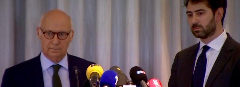De gauche à droite : Maître Pierre Cornut-Gentille, avocat de Penelope Fillon, et Maître Antonin Levy, avocat de François Fillon © conférence de presse du 09 février 2017 à Paris, 8e arrondissement.