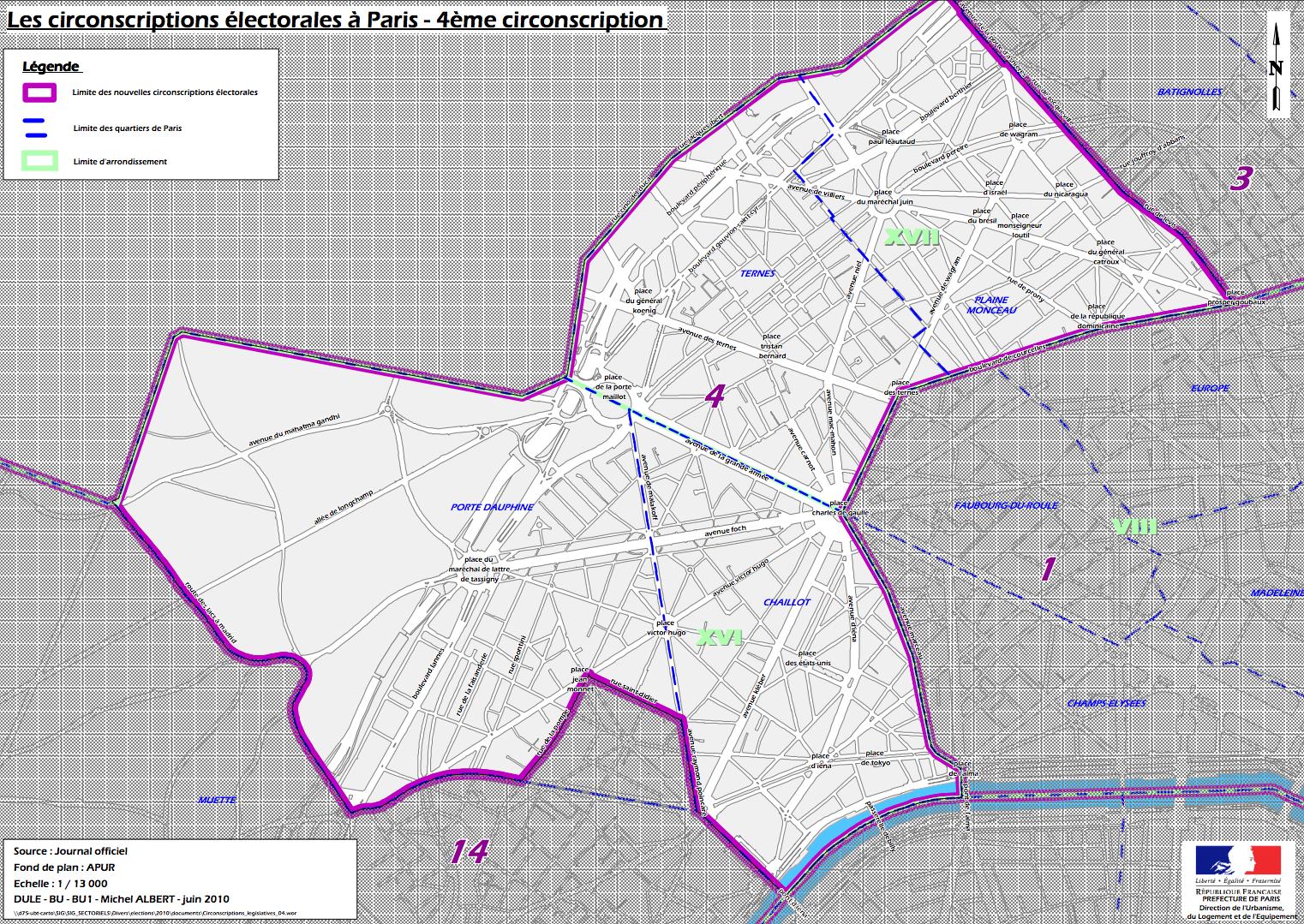Cliquer pour agrandir - La 4e circonscription de Paris (c) Ministère de l'intérieur.