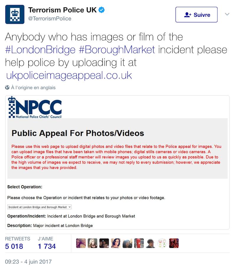 Les forces de police du Royaume-Uni, les agences de sécurité et de renseignement lancent un appel au public.
