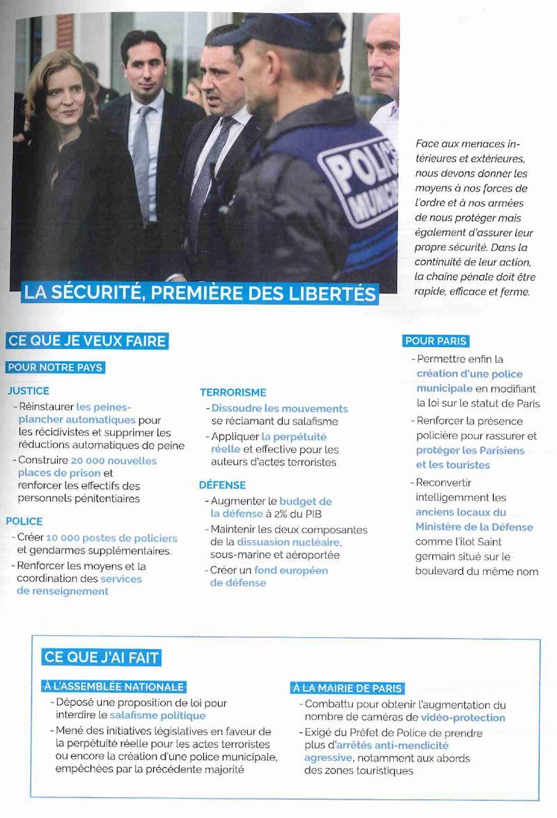 Document de campagne de Nathalie Kosciusko-Morizet pour être élue député de Paris de 2017 à 2022.