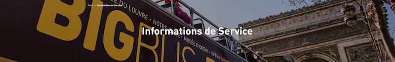 information de service sur Big Bus © Big Bus Paris