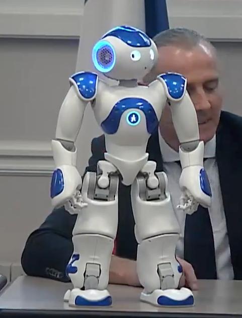 Le robot Nao fait une démonstration pendant le conseil du 15e arrondissement © capture d'écran Mairie du 15e