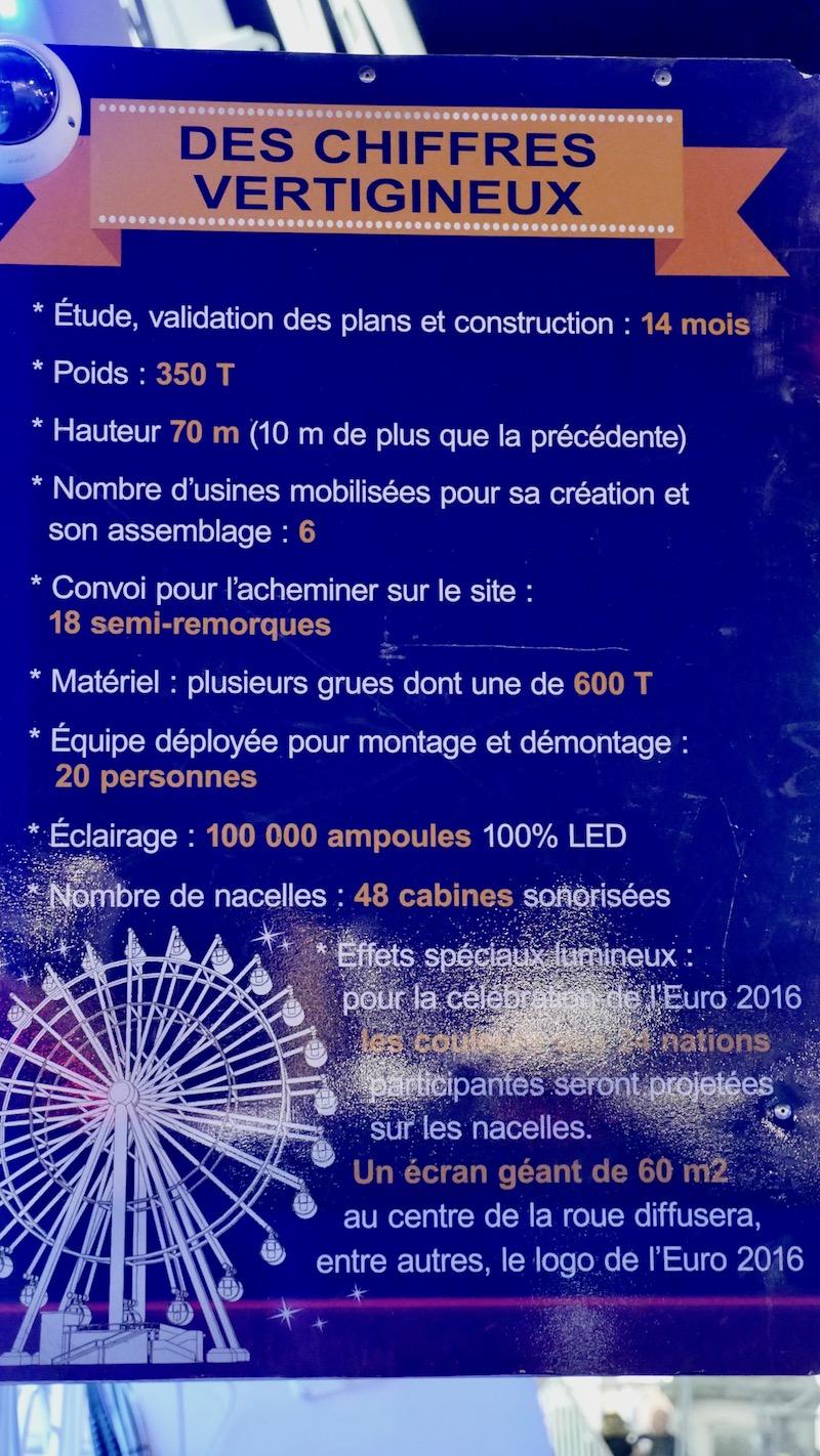 """""""Pour la célébration de l'Euro 2016, les couleurs des 24 nations participantes seront projetées sur les nacelles. Un écran géant de 60 m2 au centre de la roue diffusera, entre autres le logo de l'Euro 2016""""."""