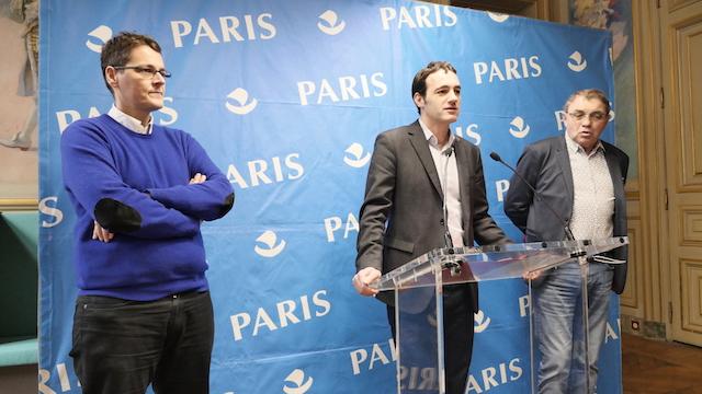 De g. à dr. : Jean-Noël Aqua, Nicolas Bonnet - Oulaldj et Hervé Bégué, Groupe Communiste - Front de Gauche © VD / PT.