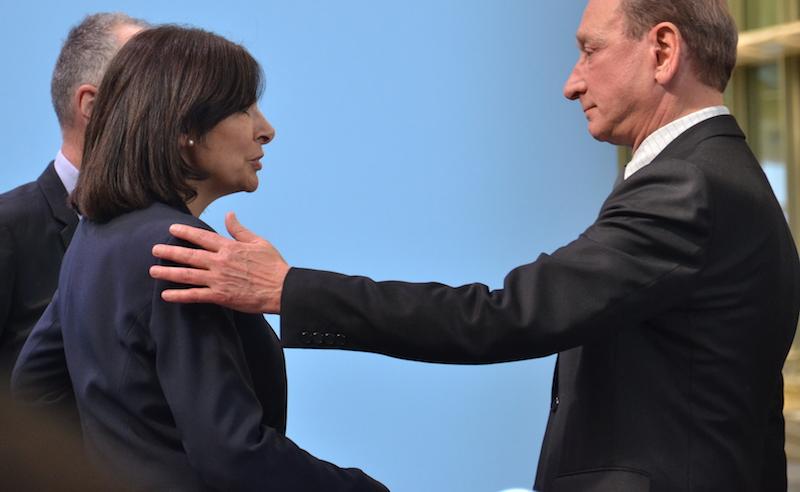 Bertrand Delanoë et Anne Hidalgo le 5 avril 2016 lors de l'inauguration du Forum des Halles exploité par Unibail-Rodemco © VD / PT