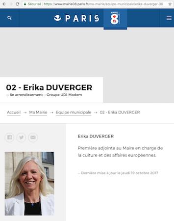 Ericka Duverger © capture d'écran mairie08.paris.fr