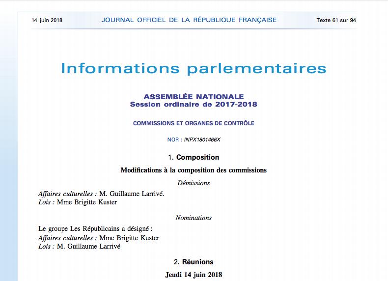Journal officiel de la République française - N° 135 du 14 juin 2018