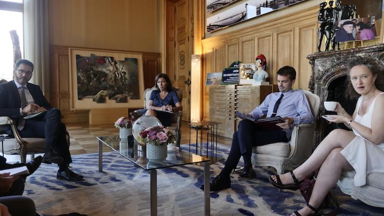 Conférence de presse avec Anne Hidalgo avant le début du conseil de Paris de juillet © VD / PT