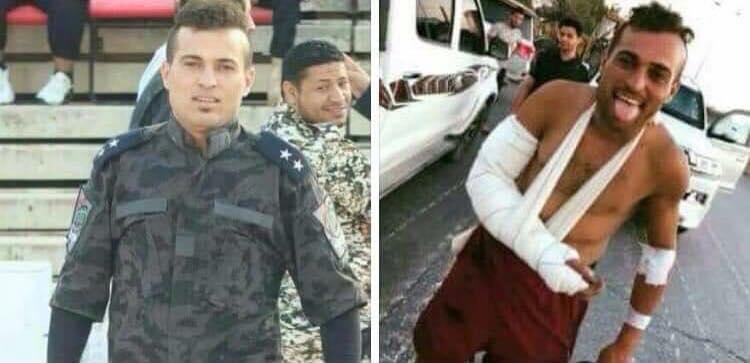 A droite, un membre d'une milice. A gauche, la même personne a revêtu l'uniforme d'un agent de police du Ministère de l'Intérieur du gouvernement d'al-Saraj © DR.