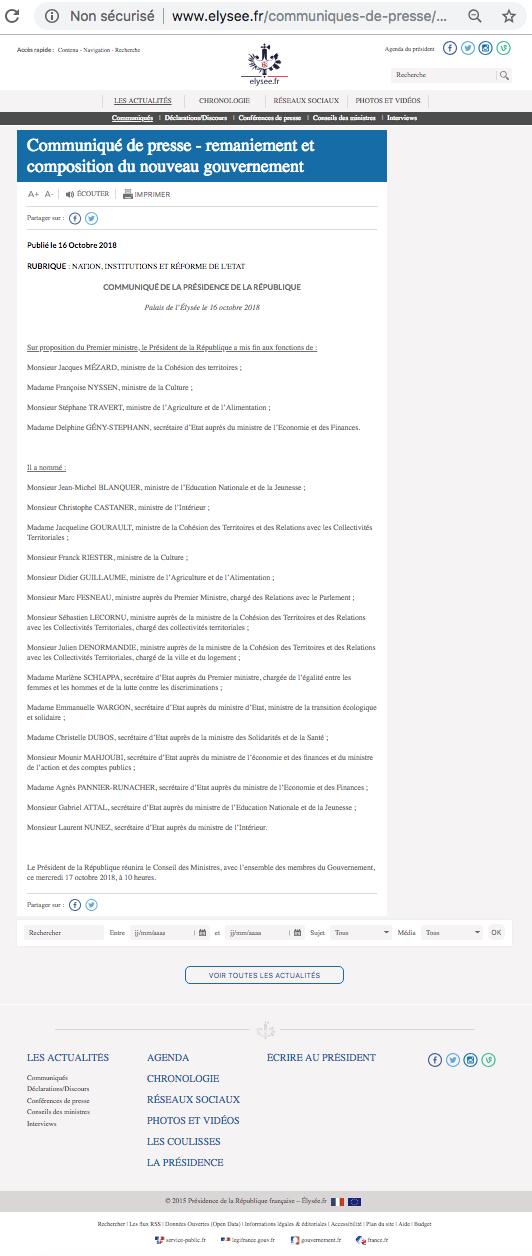 L'Elysée oublie l'outre-mer dans le communiqué annonçant la composition du gouvernement remanié © capture d'écran du site de l'Elysée.