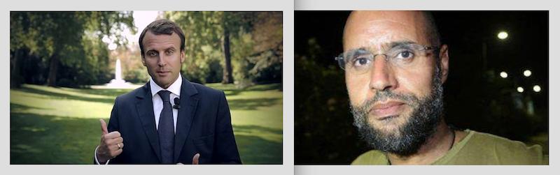 A gauche : Emmanuel Macron en septembre 2014 © CC-BY SA 3.0 France - A droite : Saif al-Islam Kadhafi.