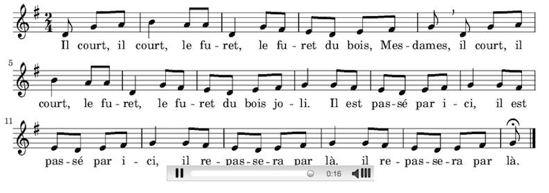 Musique et parles de la chanson Il court, il court le Furet © Wikipedia