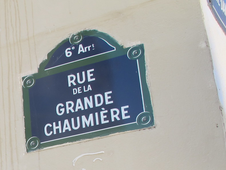 Plaque de la rue de la Grande Chaumière dans le 6e arrondissement de Paris © Celette 2012 CC-BY SA 3.0