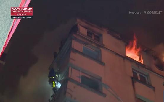 Incendie mortel rue Erlanger dans le 16e arrondissement de Paris © images Sapeurs Pompiers de Paris - Préfecture de police de Paris.